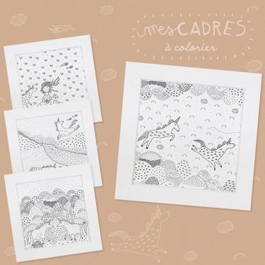 4 cadres licornes à colorier et à fabriquer Pirouette Cacahouète