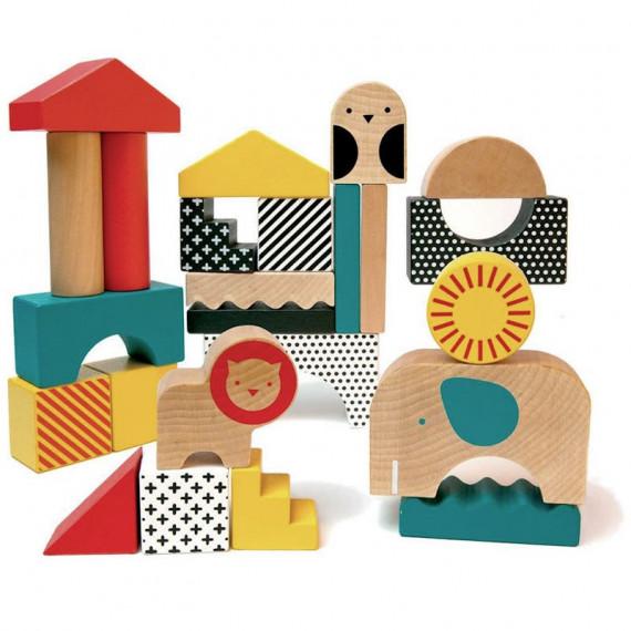 Cubes en bois 'Ville des animaux' Petit Collage