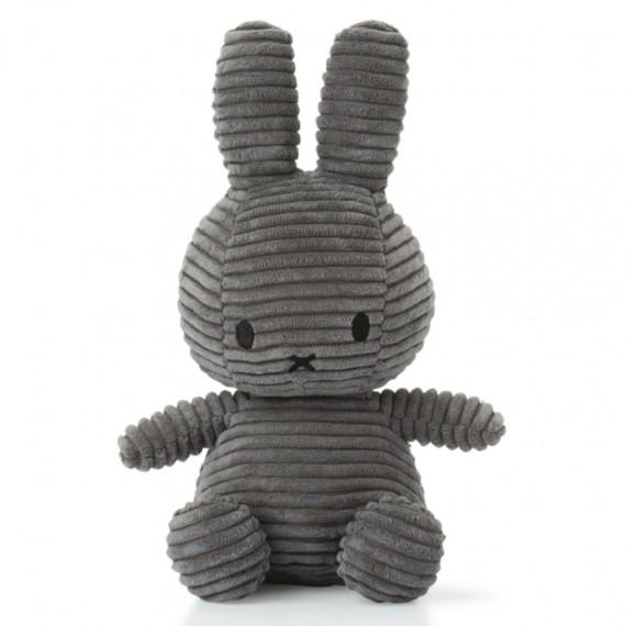 Peluche Miffy en velours côtelé gris foncé 24cm