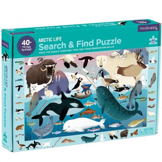 Puzzle 'Cherche & Trouve' Vie arctique 64 pcs Mudpuppy