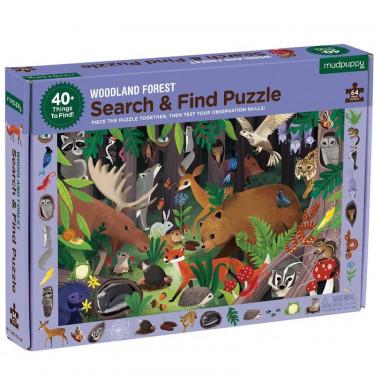 Puzzle 'Cherche & Trouve' Animaux de la forêt 64 pcs Mudpuppy