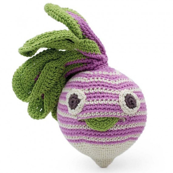 "Hochet navet rayé en crochet ""The veggy toys"", coton bio"