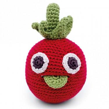 "Hochet tomate en crochet ""The veggy toys"", coton bio"