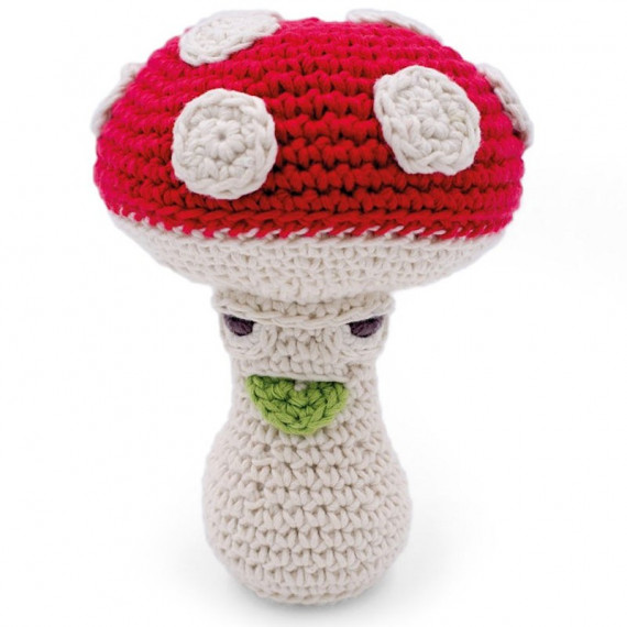 "Hochet champignon en crochet ""The veggy toys"", coton bio"