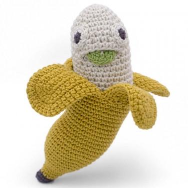 "Hochet banane en crochet ""The veggy toys"", coton bio"