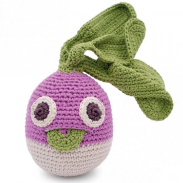 """Hochet navet en crochet """"The veggy toys"""", coton bio"""