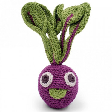 "Hochet betterave en crochet ""The veggy toys"", coton bio"