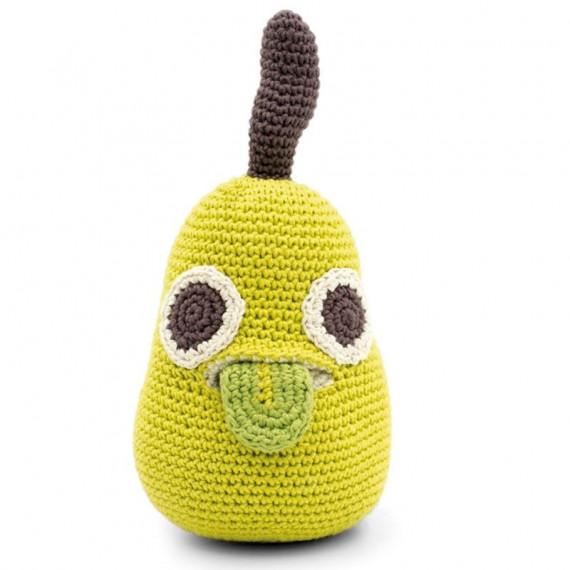 """Boîte à musique poire en crochet """"The veggy toys"""", coton bio"""