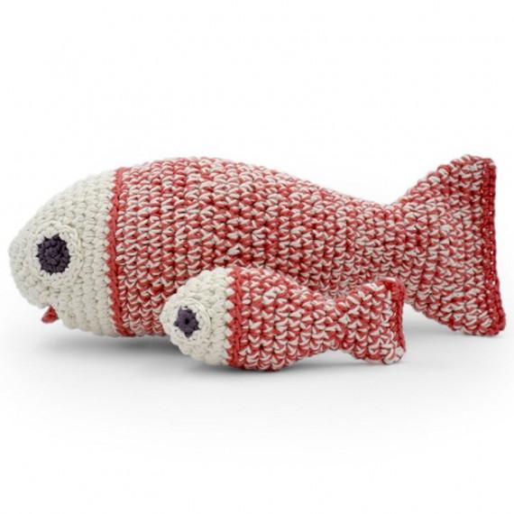 """Boîte à musique poissons en crochet """"The veggy toys"""", coton bio"""