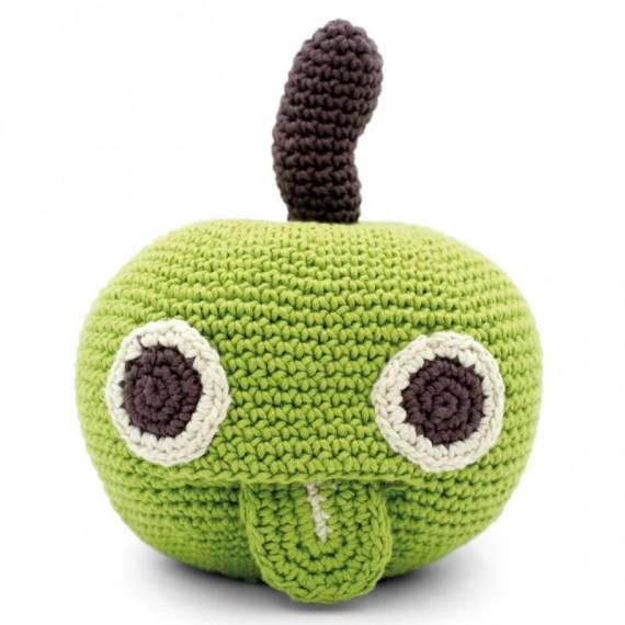 """Boîte à musique pomme en crochet """"The veggy toys"""", coton bio"""