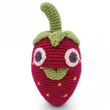 "Hochet fraise en crochet ""The veggy toys"", coton bio"