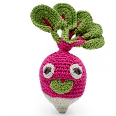 "Hochet radis en crochet ""The veggy toys"", coton bio"
