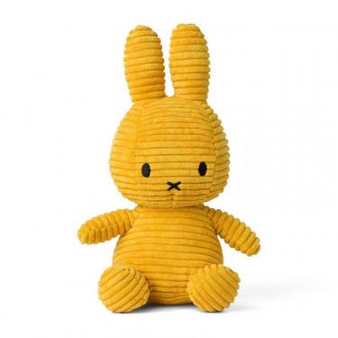 Peluche Miffy en velours côtelé jaune 24cm