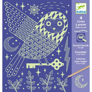 Cartes à gratter phosphorescentes 'Dans la nuit' DJECO 9735