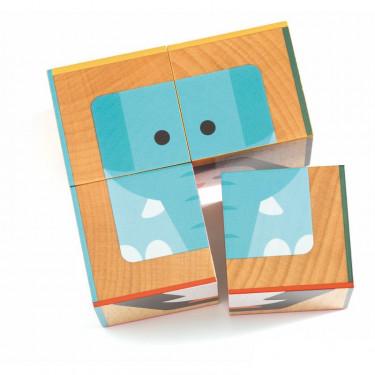 4 cubes puzzles en bois CubaBasic, DJECO 6208