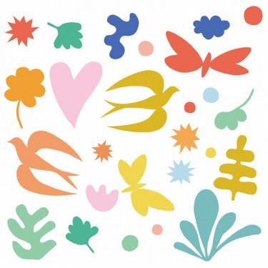 Stickers de fenêtre repositionnables 'Fantaisie colorée' DJECO 5055