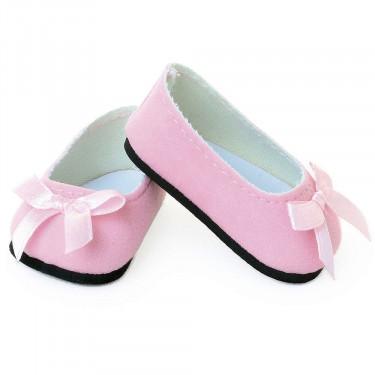 Ballerines roses avec noeud pour poupées de 39 à 48 cm Petitcollin