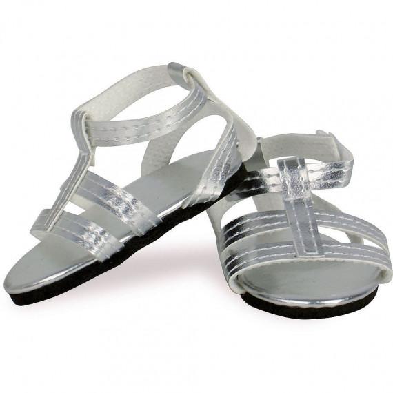 Sandales argentées pour poupées de 39 à 48 cm Petitcollin