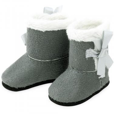 Bottes grises fourrées blanches pour poupées de 34 cm Petitcollin