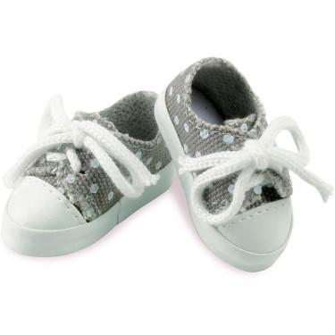 Chaussures en toile grises à pois blancs pour poupées de 34 cm Petitcollin