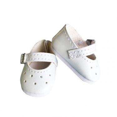 Chaussures blanches à bride pour poupées de 27 à 28 cm Petitcollin