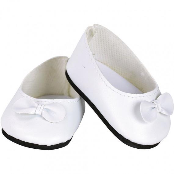 Ballerines blanches avec noeud pour poupées de 28 cm Petitcollin