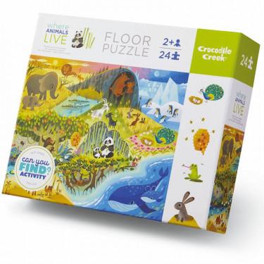Puzzle éducatif 24 pcs 'Où vivent les animaux' Crocodile Creek