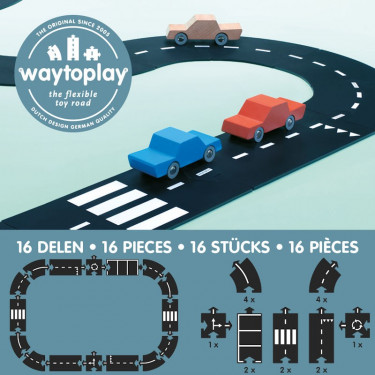 Circuit de route flexible Waytoplay, coffret routes nationales 16 pcs