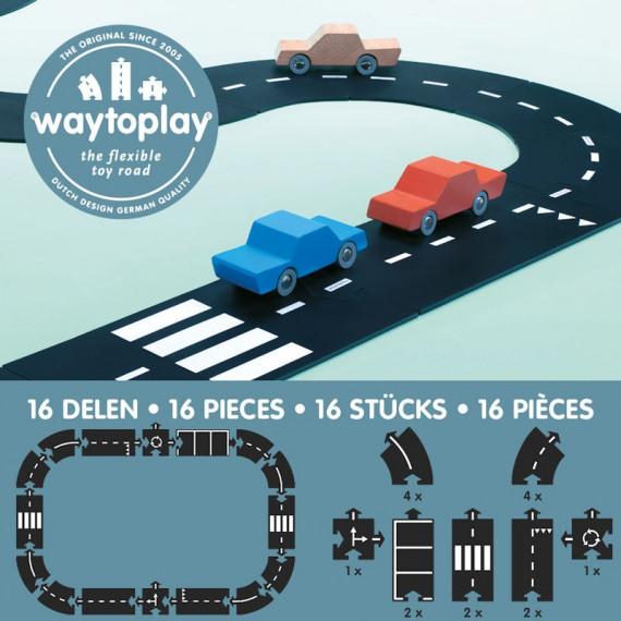 Circuit de route flexible Waytoplay, coffret routes nationales 16 pcs
