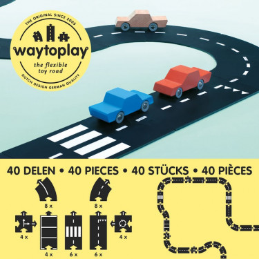 Circuit de route flexible Waytoplay, coffret King of Road 40 pièces