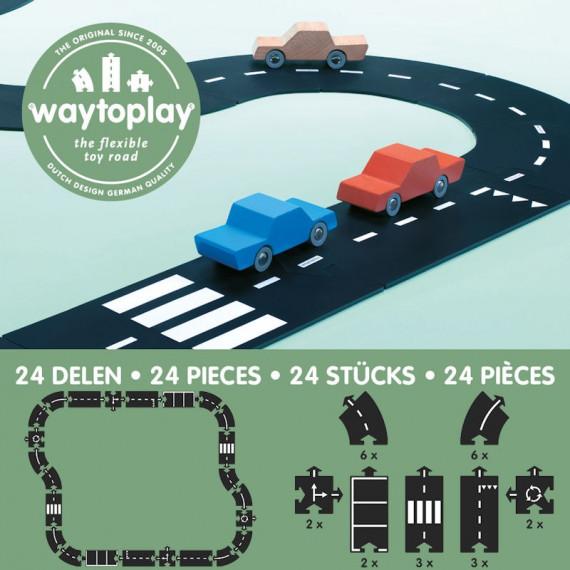 Circuit de route flexible Waytoplay, coffret Autoroute 24 pièces