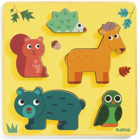 Puzzle relief en bois Frimours, jeu d'encastrement DJECO 1059