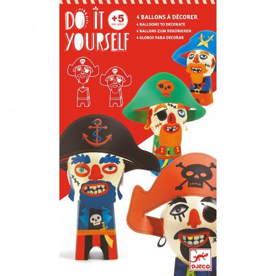 "Ballons à décorer ""Pirates rigolos"" DIY DJECO 7911"