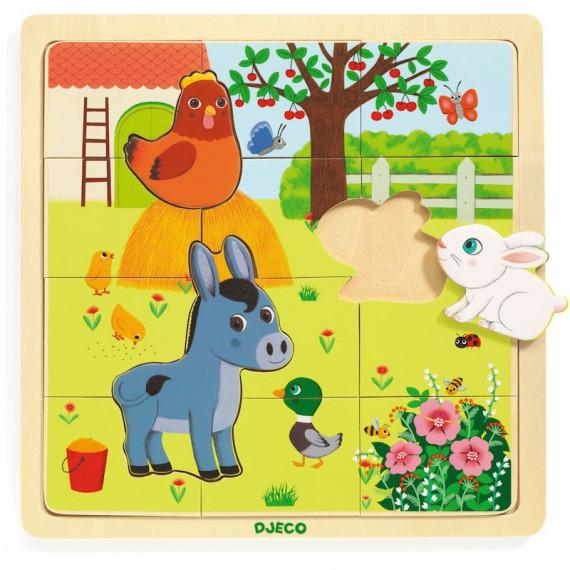 Puzzle en bois 'Puzzlo Ferme' 15 pcs DJECO 1814