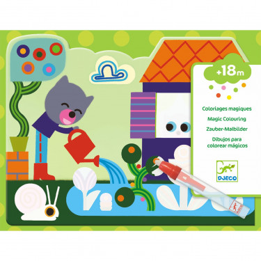 """Coloriages magiques à l'eau """"Caché dans le jardin"""" DJECO 9063"""