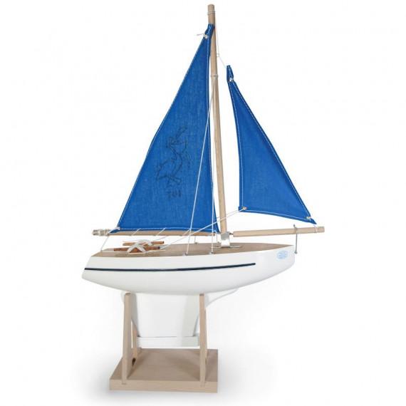 Voilier Tirot 701 coque blanche voiles bleues 30 cm