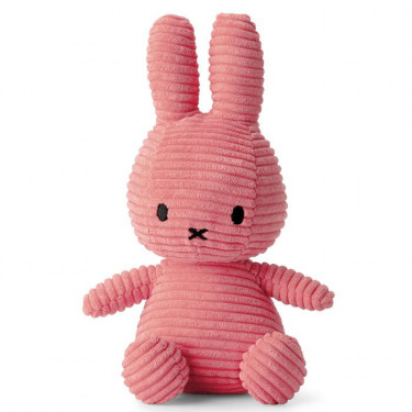 "Peluche Miffy en velours côtelé rose ""bubblegum"" 24cm"