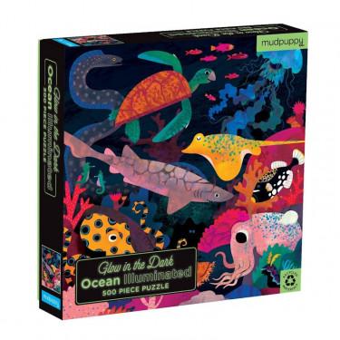 """Puzzle qui Brille dans le Noir """"Océan"""" 500 pcs Mudpuppy"""