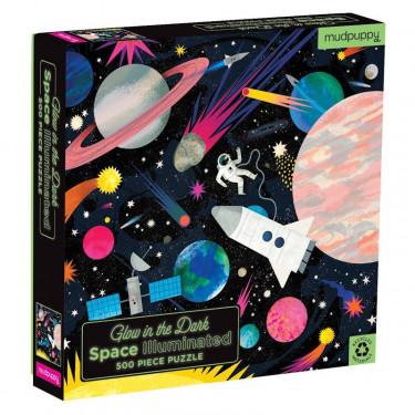 """Puzzle qui Brille dans le Noir """"Espace"""" 500 pcs Mudpuppy"""