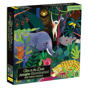 "Puzzle qui Brille dans le Noir ""Jungle"" 500 pcs Mudpuppy"
