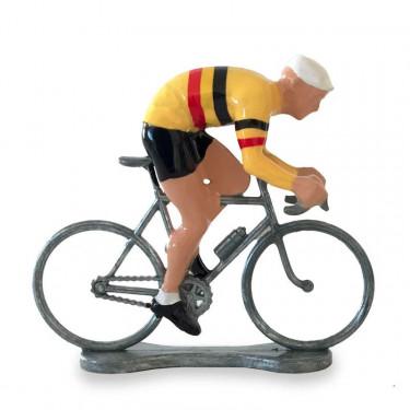 Figurine cycliste sprinteur maillot jaune-belge_ Bernard & Eddy