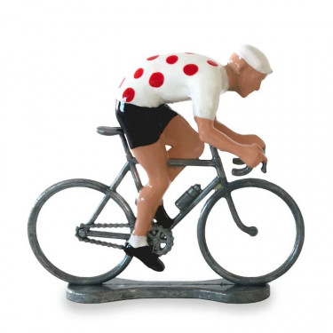 Figurine cycliste sprinteur maillot blanc pois rouge _ Bernard & Eddy