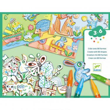 """Créer avec des formes """"Un monde à créer, animaux"""" DJECO 8997"""