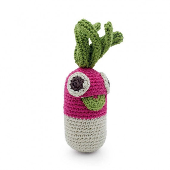 "Hochet grand radis en crochet ""The veggy toys"", coton bio"
