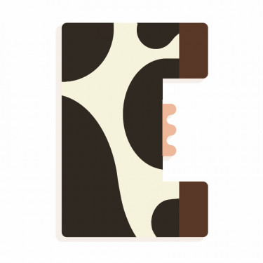 Lettre E en bois DJECO Animaux graphiques / noir