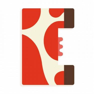 Lettre E en bois DJECO Animaux graphiques / rouge
