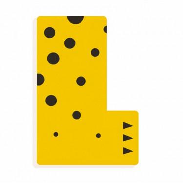 Lettre L en bois DJECO Animaux graphiques / jaune