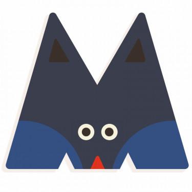 Lettre M en bois DJECO Animaux graphiques / bleu