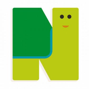 Lettre N en bois DJECO Animaux graphiques / vert