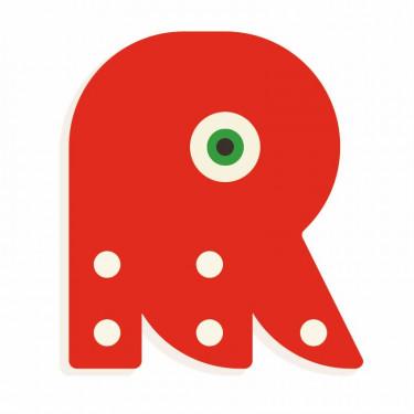 Lettre R en bois DJECO Animaux graphiques / rouge